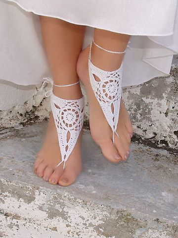 "New artisan made barefoot sandals in stock here at Eclectic Artisans...like these GORGEOUS pure white Barefoot Sandals. They are both feminine and have a very Gypsy/Earthy look. Wouldn't these be great for dancing around the fire, your hand fasting, or drum circle? Browse ALL the new styles offered by ""The Accessory Gallery Shoppe"" today. Click the image & get your pair before they are gone! #wiccan #pagan #gypsy #sandals"