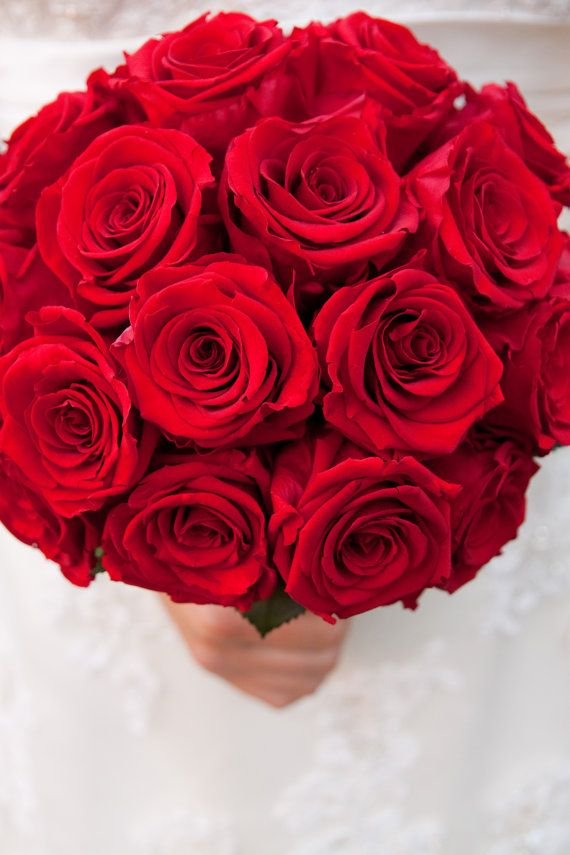 Classic Red Rose Bridal Bouquet made with REAL by CustomLoveGifts, $190.00