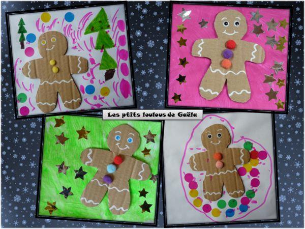 Bricolage enfants pour Noël. Bonhommes pain d'épices