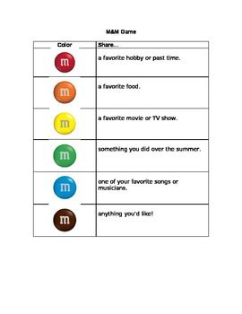 M Getting to Know You Game ~ simplify favorites for second grade