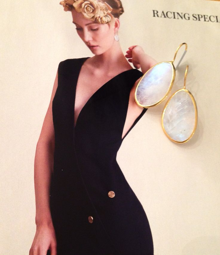 One of a kind Rainbow moonstone earrings featured in Instyle october 14