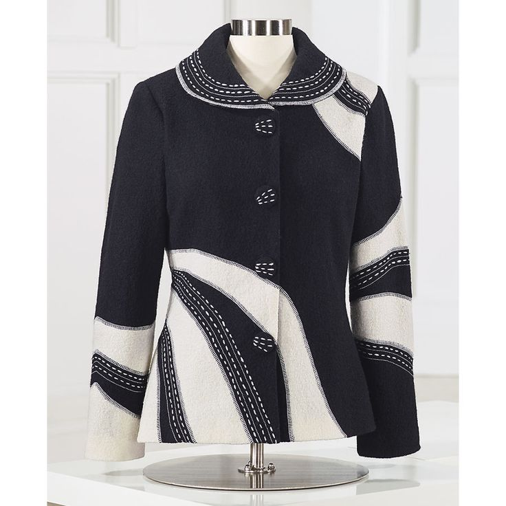 High-Contrast Boiled Wool Jacket - Women's Clothing, Unique Boutique Styles & Classic Wardrobe Essentials