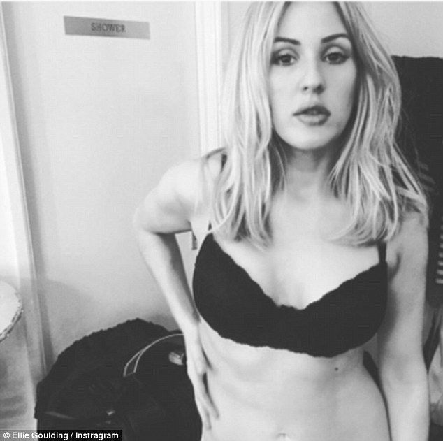 Goodness Gracious! Ellie Goulding shared a very sultry Instagram snap on Thursday afternoon, stripping down to her black bra to show off her gym-honed body