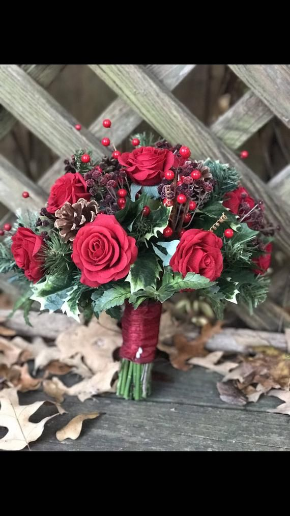 Stupendous Red Rose Christmas Bridal Bouquet In 2019 Wedding Dresses Download Free Architecture Designs Remcamadebymaigaardcom