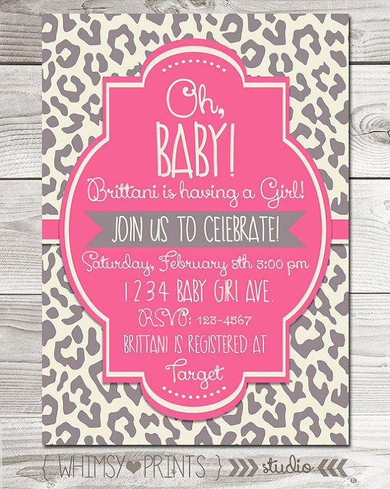 Baby Girl Shower Invitation Pink Grey Leopard Cheetah Baby Shower Invite Digital Printable Party Invite 11 on Etsy, $8.00