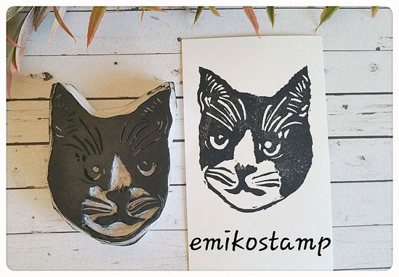 SALE LARGE Cat stampkitten hand carved rubber stampcat