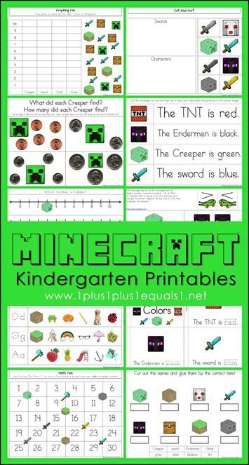FREE Minecraft Kindergarten Printables ~ Literacy and math skills with a Minecraft theme!
