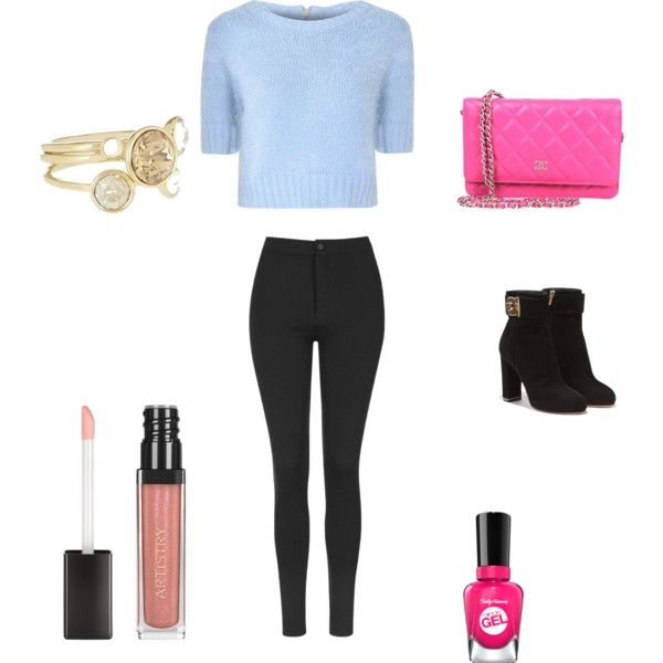 A fashion look from October 2015 featuring Glamorous sweaters, Topshop leggings and Salvatore Ferragamo ankle booties. Browse and shop related looks.