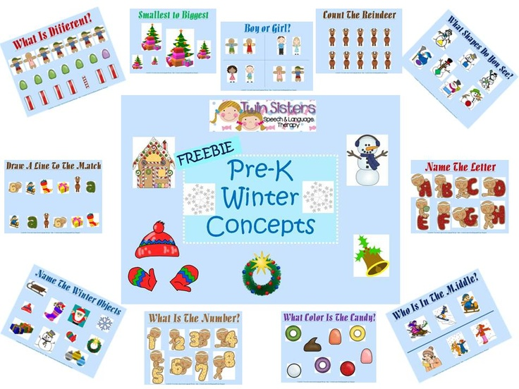 Freebie! Winter Themed Pre-K Concepts. From: Twin Sisters Speech and Language Therapy