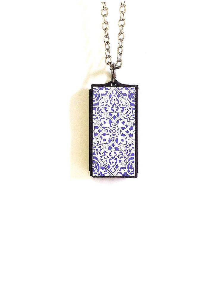 Vivofit 3 Pendant Vivofit 3 Necklace Moroccan Print Lilac Leather Pendant Vivofit 3 Pendant Moroccan style on Leather plus silvered chain by empressionistar on Etsy
