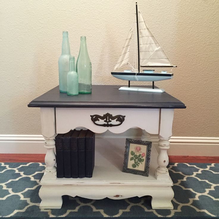 Navy and white chalk painted end table