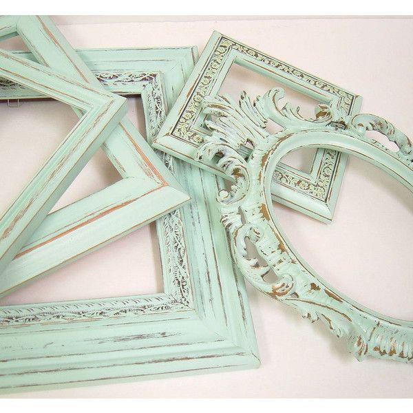 Shabby Chic Frames Pastel Mint Green Picture Frame Set Ornate Vintage... ($18) ❤ liked on Polyvore featuring home, home decor, mint green home decor and pastel home decor