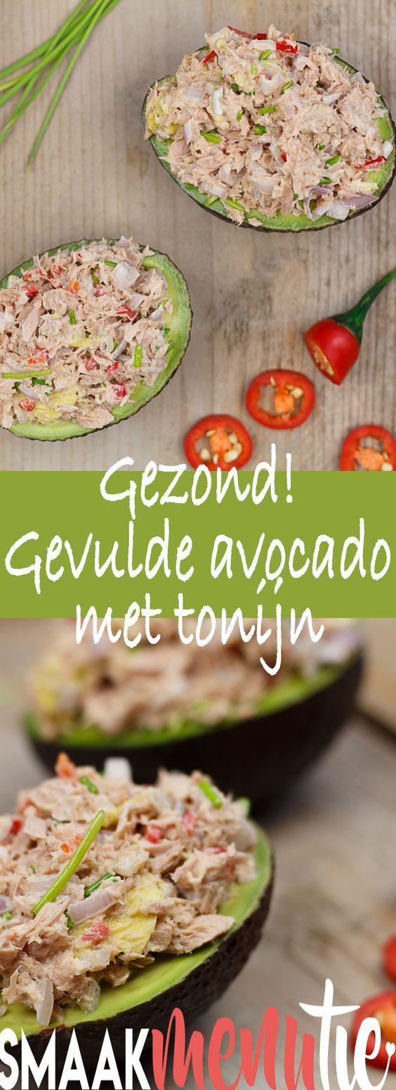 Gevulde avocado met tonijn #recept #recipe #avocado #lunch #gezond #healthyfood