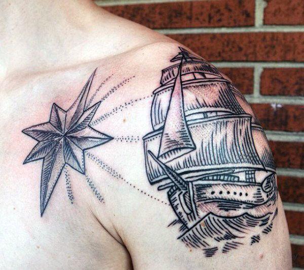 80 Nautische Sterne Tattoo Designs Fur Manner Manly Ink Ideen