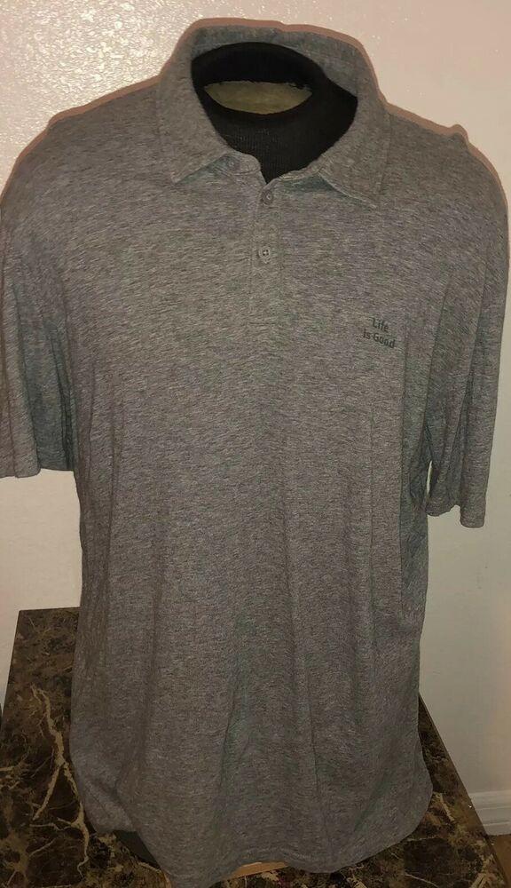 3b66f1d3 Men's Life Is Good 100% Cotton Gray Polo Shirt,size Large L   eBay ...