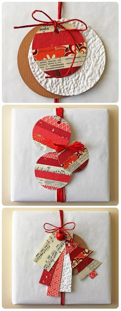 Recycled paper gift tags.  Gloucestershire Resource Centre http://www.grcltd.org/scrapstore/