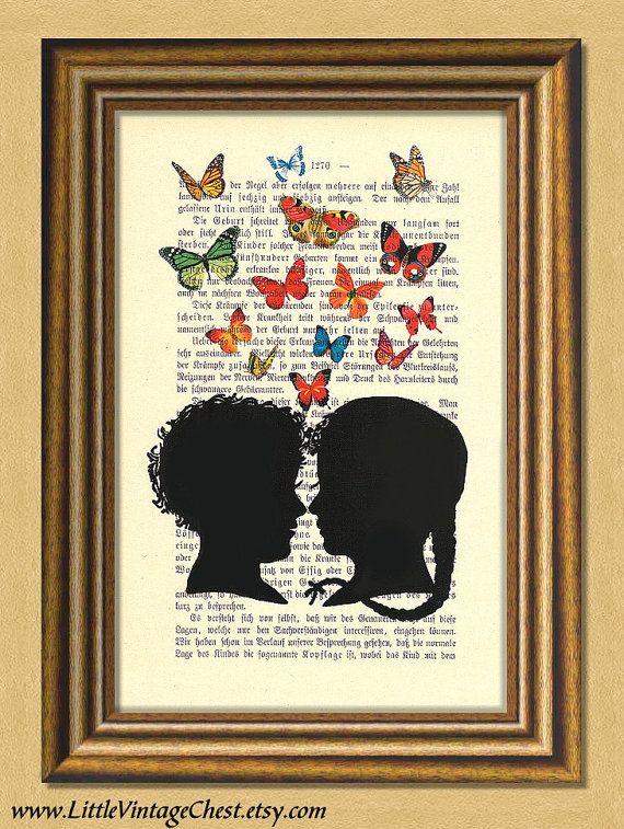 THE FIRST KISS  Dictionary art print  Wall by littlevintagechest, $7.99