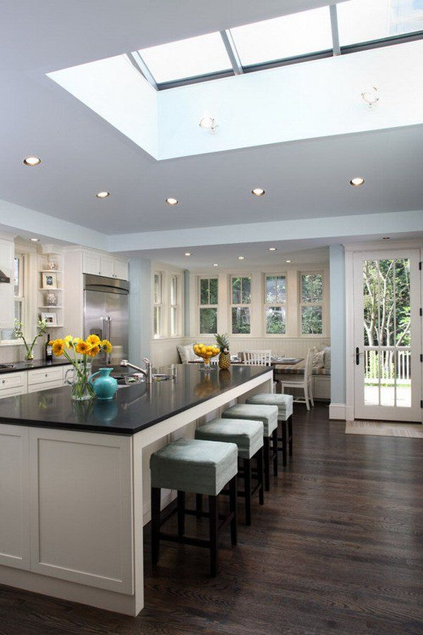 contemporary kitchen idea 40 - really don't like the spotlights but very much like the skylight!