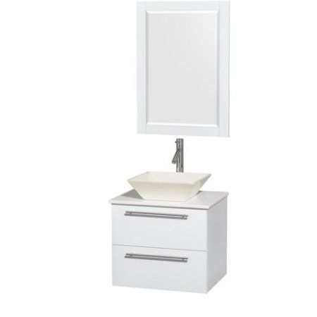 Wyndham Collection Amare 24 inch Single Bathroom Vanity in Glossy White, White Man-Made Stone Countertop, Pyra Bone Porcelain Sink, and 24 inch Mirror