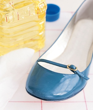 Vegetable oil will put a shine on leather shoes.