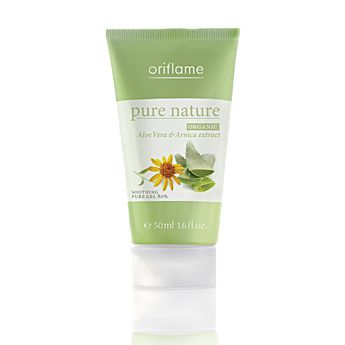 Pure Nature Organic Aloe Vera & Arnica Extract Soothing Pure Gel 80%    Mild, fragrance-free gel with highly concentrated form of organic aloe vera extract equivalent to a 80% pure gel. Offers soothing and calming benefits. Provides immediate relief to stressed, tired or dull skin on face or body. 50 ml.