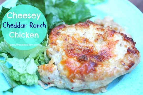 With a prep time of only five minutes, this Cheesey Cheddar Ranch Chicken is sure to be a winner on those busy evenings. Our kids love it!