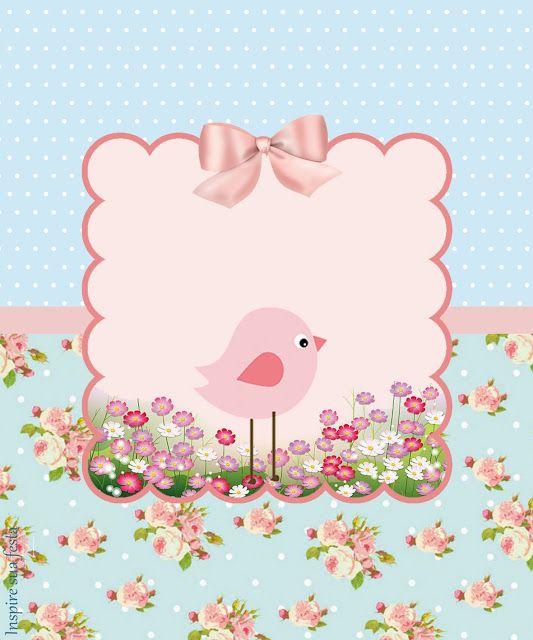 Pajarito Rosa en Fondo Shabby Chic: Etiquetas para Candy Bar e Imprimbles Gratis…
