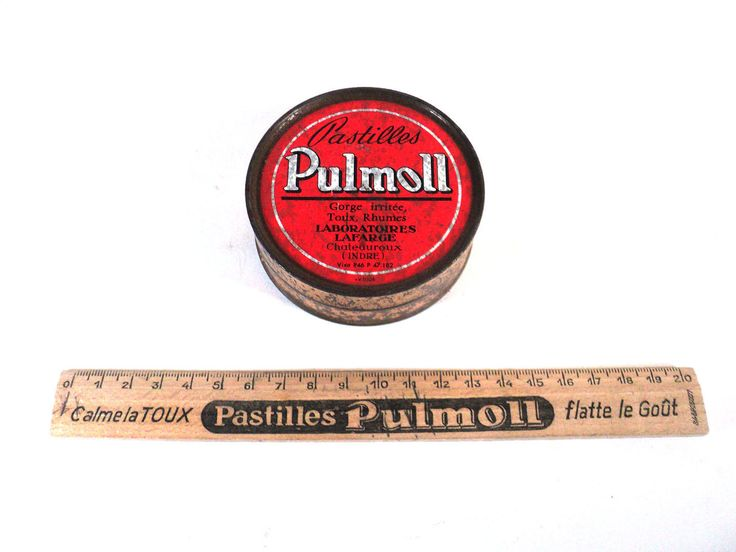 French Pastilles Pulmoll, Wood Advertising Ruler, Golden Lithographed Ad Pill Tin Box