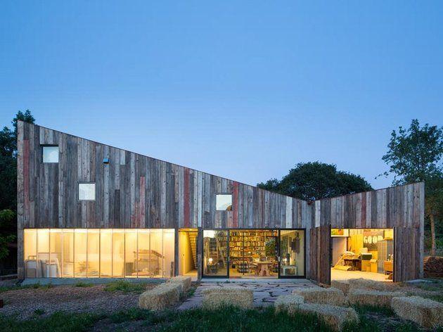 Modern studio barn with 100 year old barn siding in Sebastopol, California, by SFOSL architects