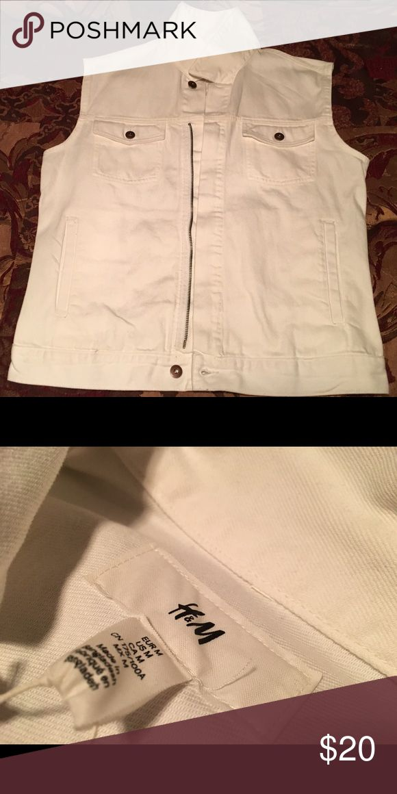 All White Jean Vest This All white Vest is very chic and still has the tag. It's a size medium. Jackets & Coats Vests