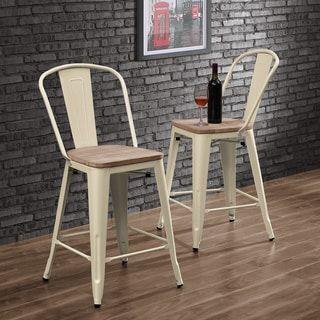 Tabouret Bistro Wood Seat Cream Counter Stools (Set of 2)