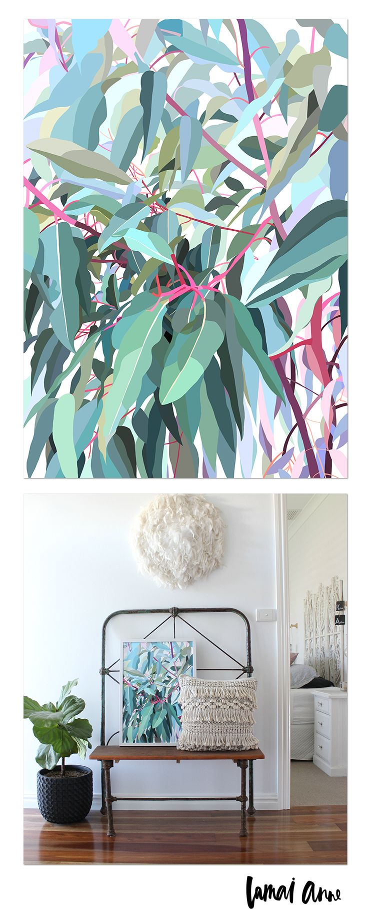 Gumtree limited edition print by Australian artist Lamai Anne. What a wonderful way of bringing the Australian outdoors and a real pop of colour into your home. Lamai's artwork is a collaboration of Native Flora and Fauna that encompasses her home and surroundings. Her illustrations of Australian Natives are meticulously brought to life through her digital art, and the composition between the seasons to create vivid, colourful and eye catching pieces.