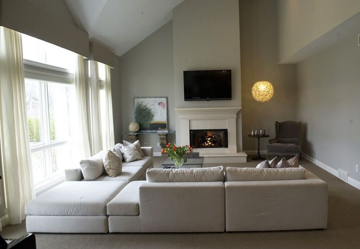 Traditional Living Room with Restoration Hardware Cloud Cube Modular Sectional, stone fireplace ...