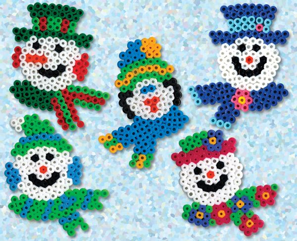 Create these colorful snowmen all dressed up with their fancy hats and scarves and ready for a cold winter! It's all so much fun with Perler beads!