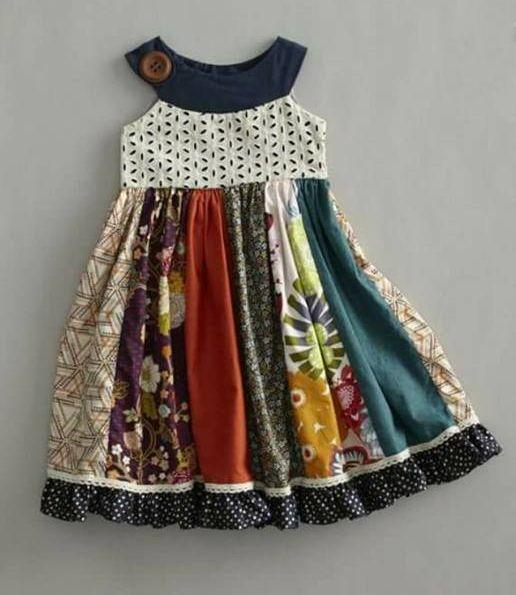 Aprenda a fazer esse lindo vestido com retalhos com modelagem para 5 anos (By Zenilde Mendes)