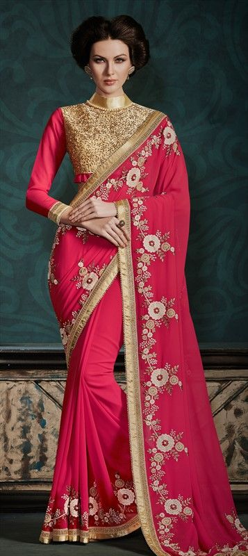 BRIDAL WEAR - ditch the old red and make PINK your BFF. #Saree #Bride #IndianWedding #WeddingPlanning #OnlineShopping #floral #embroidery