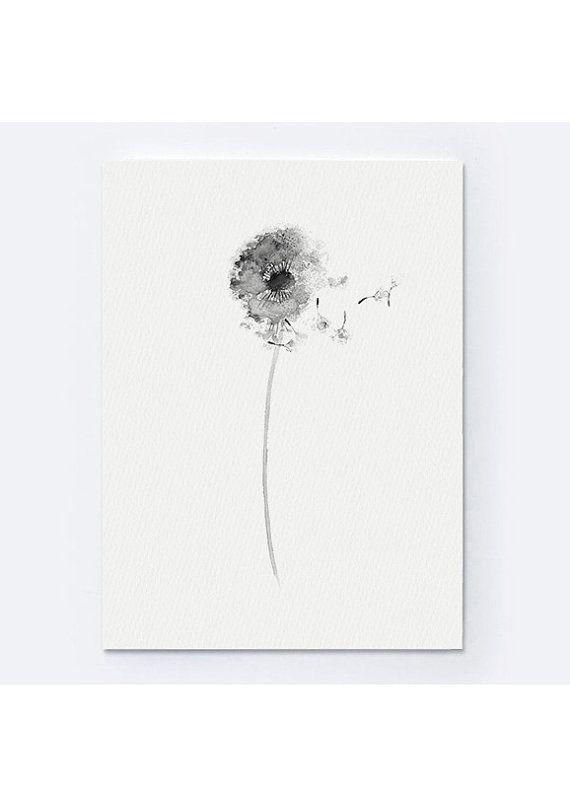 Dandelion Set Of 2 Floral Art Print Gray Flower Black And White