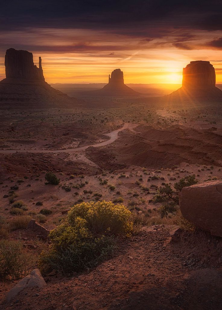 Gold Mittens | Great sunrise at Monument Valley - Arizona  | Albert Dros