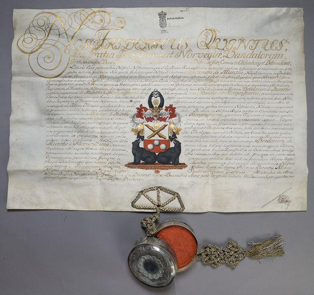 Letter of nobility of 1755 to the von Munthe af Morgenstierne family of the Danish and of the Norwegian nobility.