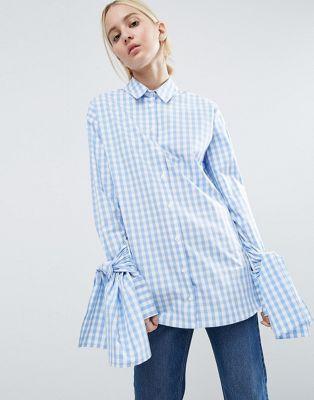 Хлопковая рубашка в клеточку с большими завязками на рукавах ASOS