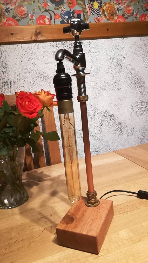 Home Unique Table Lamps Edison Led Bulb Wood Base Retro Style Diy