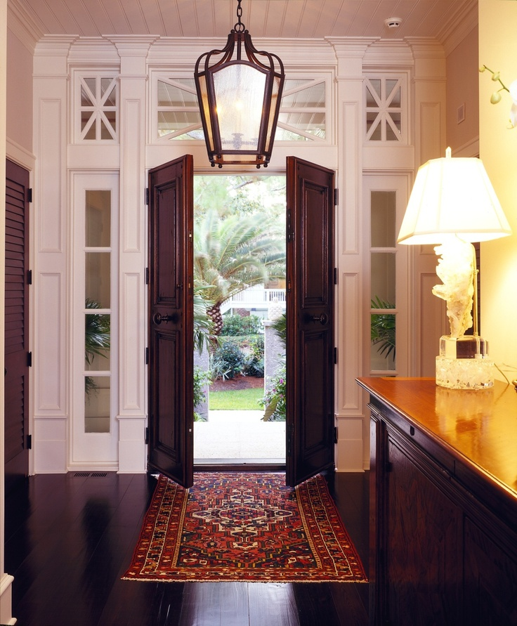 Lovely Entry With Gorgeous Transom Windows, Lantern, Black Double Doors,  Antique Rug   Sea Pines Beach Front Home In SC   Group 3 Designs