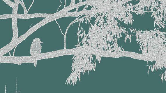 Blue and White Kookaburra on Branch by BlackbirdArtDesign on Etsy, $35.00