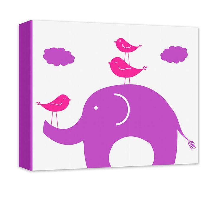 Elephant and Birds Canvas Wall Art | Bird canvas, Canvas ...