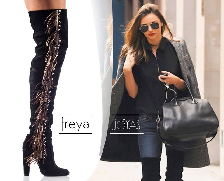 The black over the knee boots with fringes on the side are perfect for a chic attire@joyasromania