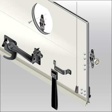 """J&B can add Transglobal Inc door to your upfit. Transglobal Inc  manufactures a variety of products for the transportation industry including dry-freight wood, ¼"""" and ½"""" composite doors, refrigerated doors, replacement parts, ramp door spring systems and many other quality products.or more information regarding this line of hitches please call our sales team at 800-330-1229."""