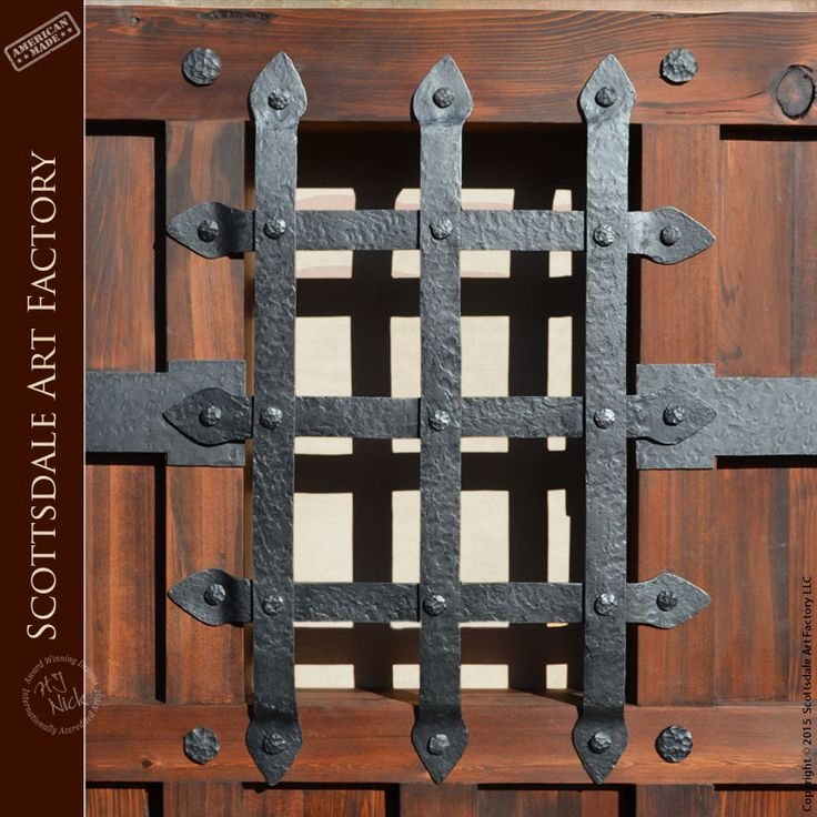 Iron Door Grill - Hand Forged Wrought Iron - GR4444 - Iron speakeasy grill, door and window grates handcrafted from solid iron by master blacksmiths - as shown in old world castle inspired style