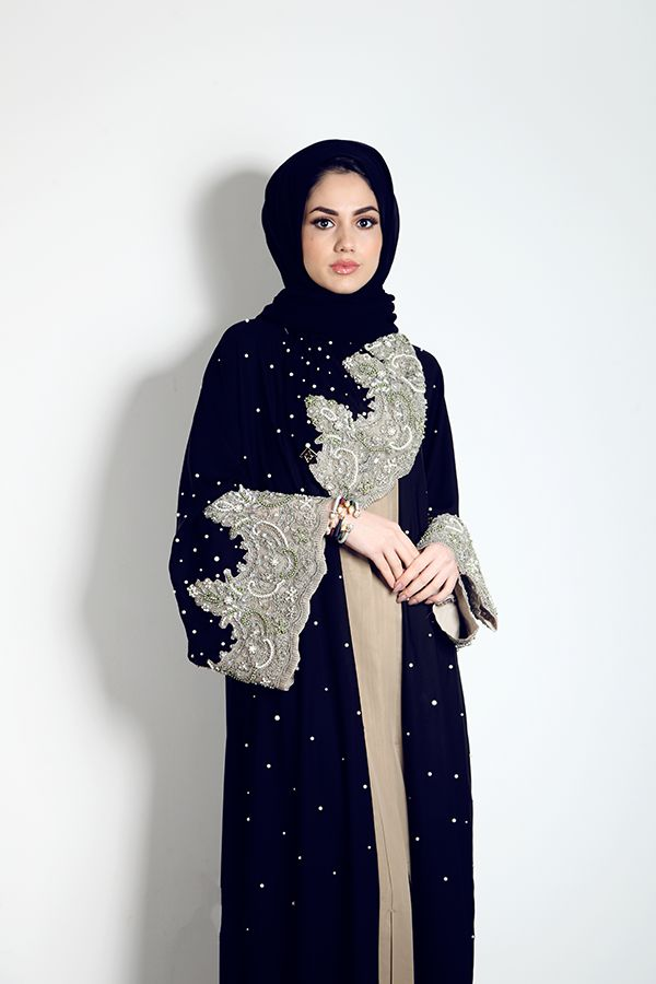 Lace, pearl and crystal Abaya | Modest Rail                              …