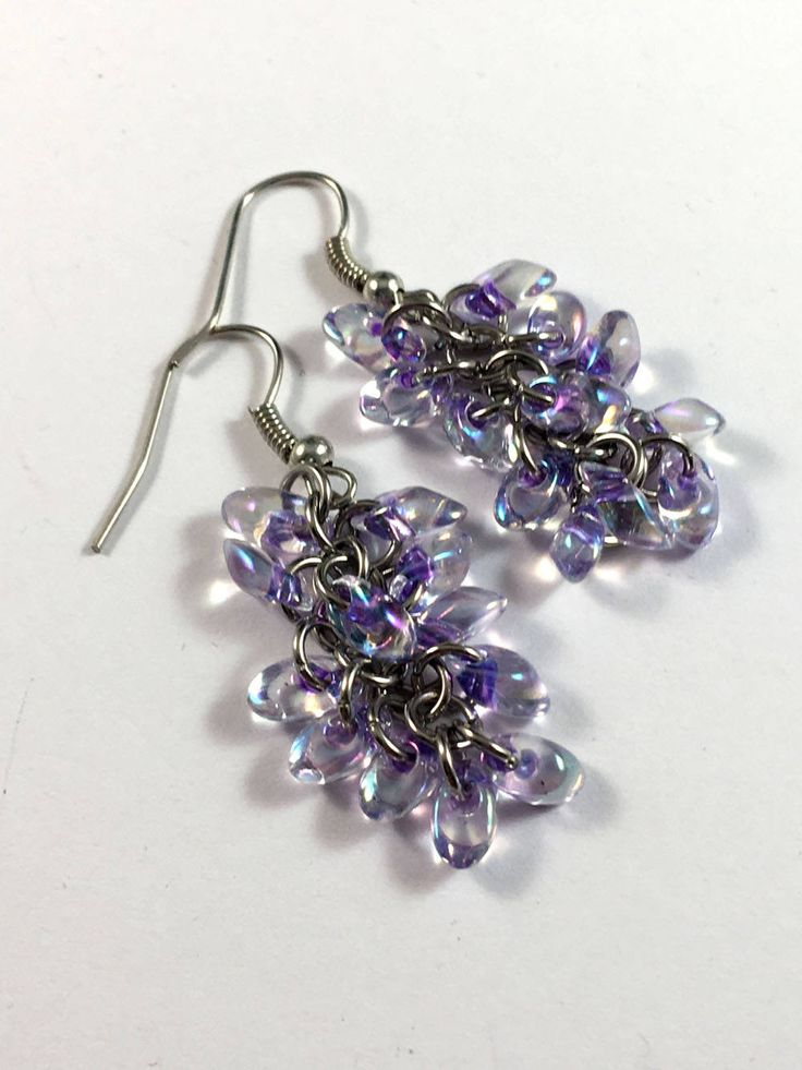 Purple lined crystal AB chainmaille beaded earrings - shaggy loops earrings by TrinketFairyDesigns on Etsy