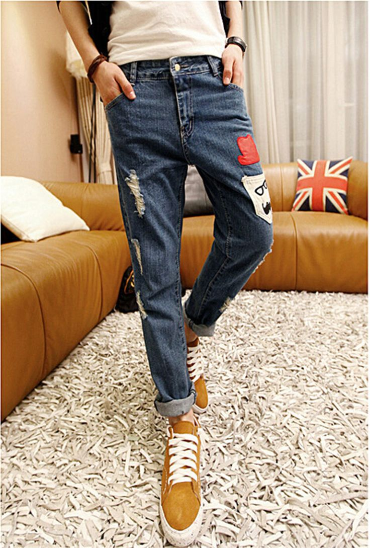 Fashion Ripped Torn Jeans Korean Design Printing Patch Beggar Pants Mens Tight Male Trousers Worn Holes Plus Size 28-33